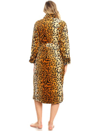 Super Soft Long Lounge Robe - Plus - Brown Cheetah - Back
