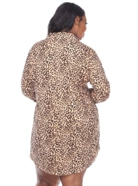 Long Sleeve Button Front Nightgown - Plus - Cheetah - Back
