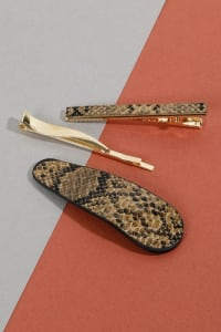 Set of 3 Snake Skin Print Leather Hair Clips - Brown - Back