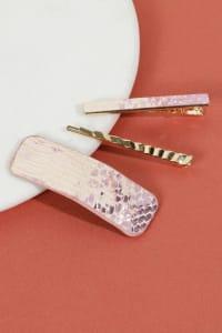 Set of 3 Snake Skin Print Leather Hair Clips - Pink - Back