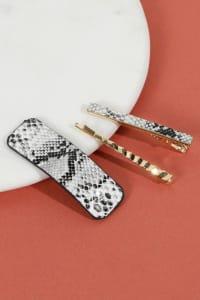 Set of 3 Snake Skin Print Leather Hair Clips - Grey - Back