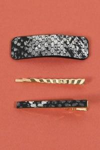 Set of 3 Snake Skin Print Leather Hair Clips - Black - Back