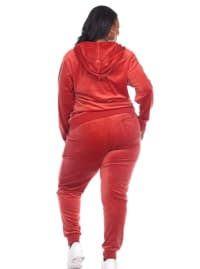 2 Piece Full Zip Closure Velour Tracksuit Set - Plus - Orange - Back