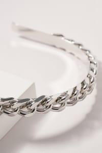 Chunky Chain Linked Head Band - Rhodium - Back