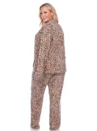 Long Sleeve Top Full Length Bottoms Sleepwear Pajama Set - Plus - Cheetah - Back