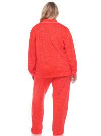 Long Sleeve Top Full Length Bottoms Sleepwear Pajama Set - Plus - Red - Back
