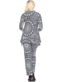 Head to Toe Printed Stretchy Knit Palazzo Lounge Set - Back