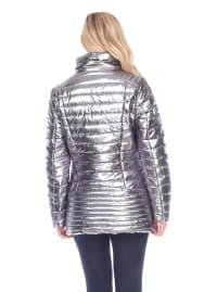Metallic Front Zipper Puffer Coat - Silver - Back