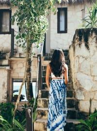 Maxi Skirt in Blue Tie Dye - Blue - Back