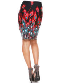 Feather Print Stretchy Pencil Skirt - Back