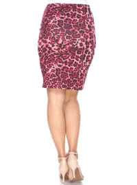 Cheetah Print Fitted Pencil Skirt - Back