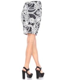 Pretty and Proper Leaf Print Pencil Skirt - Back