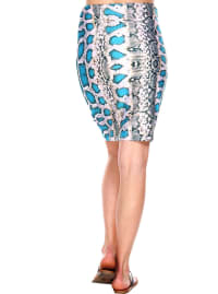 Printed Fitted Pencil Skirt - Back