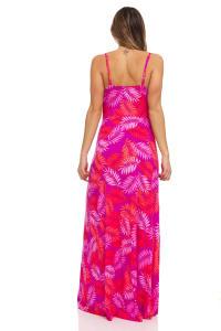 Pink Palm Maxi Dress - Back