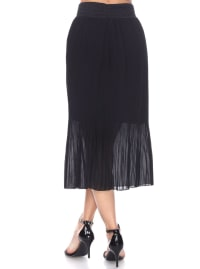 Elastic Waistband Pleated Midi Skirt - Back