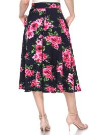 Flared Flower Print Midi Skirt - Back