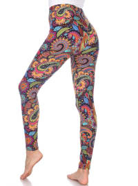 One Size Fits Most Soft Printed Leggings - Back