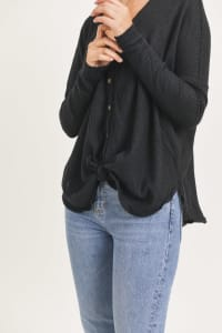 Front Tie Cardigan - Black - Back
