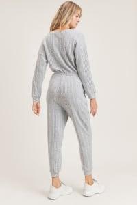 I Woke Up Like This Jumpsuit - Light Grey - Back