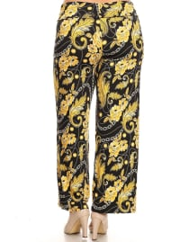 Printed Relaxed Wide Palazzo Pants - Plus - Back