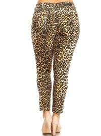 Printed Cheetah Super Stretchy Pants - Plus - Back