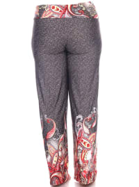 Printed Stretchy Wide Palazzo Pants - Plus - Back