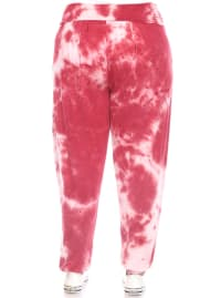 Tie Dye Relaxed Fit Harem Pants - Plus - Red - Back