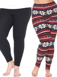 Pack of 2 Form Fitting Stretchy Leggings - Plus - Back