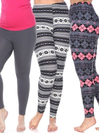 Pack of 3 Form Fitting Stretchy Leggings - Plus - Back