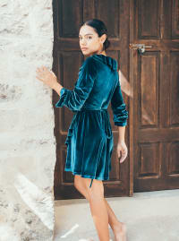 Short Velvet Cocktail Dress - Teal - Back