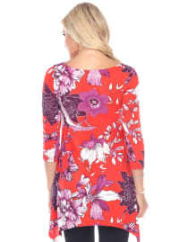 Maternity Floral Scoop Neck Tunic Top with Pockets - Back