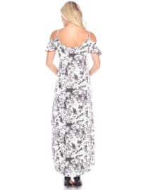 Maternity Cold Shoulder Tie Dye Maxi Dress - Back