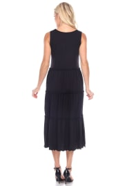 Maternity Scoop Neck Tiered Midi Dress - Back