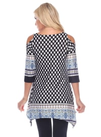 Maternity Printed Cold Shoulder Tunic - Plus - Back