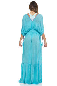 Solid Boho V-neck Maxi Dress - Back