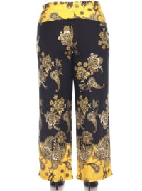 Floral Paisley Printed Palazzo Pants - Plus - Back
