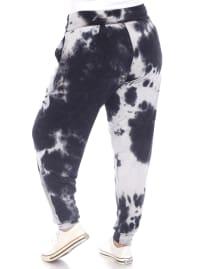Tie Dye Relaxed Fit Harem Pants - Plus - Black - Back