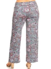 Paisley Printed Wide Palazzo Pants - Plus - Back