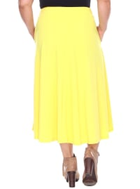 Tasmin Flare Floral Midi Skirts - Plus - Yellow - Back