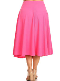 Tasmin Flare Floral Midi Skirts - Plus - Fuchsia - Back