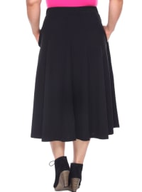 Tasmin Flare Floral Midi Skirts - Plus - Black - Back