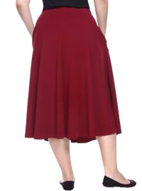 Tasmin Flare Floral Midi Skirts - Plus - Burgundy - Back