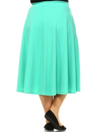 Tasmin Flare Floral Midi Skirts - Plus - Mint - Back