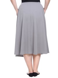 Tasmin Flare Floral Midi Skirts - Plus - Grey - Back