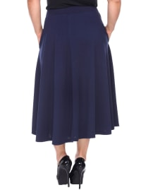 Tasmin Flare Floral Midi Skirts - Plus - Navy - Back