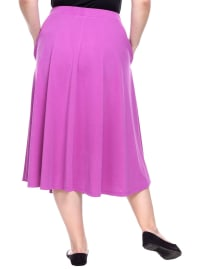 Tasmin Flare Floral Midi Skirts - Plus - Purple - Back
