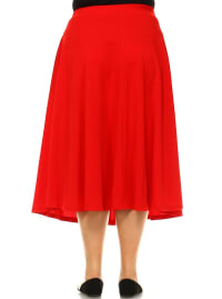 Tasmin Flare Floral Midi Skirts - Plus - Red - Back