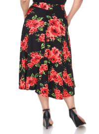 Flower Print 'Tasmin' Flare Midi Skirts - Plus - Back