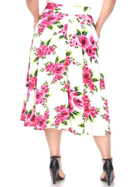 Flower Print 'Tasmin' Flare Midi Skirts - Plus - Pink Flowers - Back