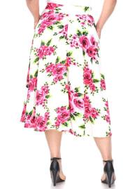 Flower Print 'Tasmin' Flare Midi Skirts - Plus - Pink Flowers - Back
